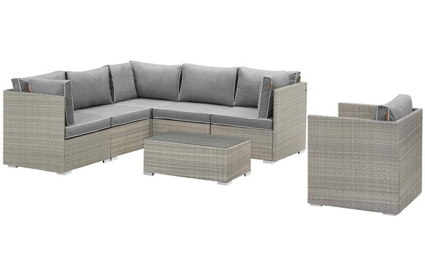 Modway Furniture Repose Light Gray 7pc Outdoor Patio Sectional Set EEI-3010-LGR-GRY-SET