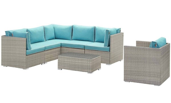 Modway Furniture Repose Light Gray Turquoise 7pc Outdoor Patio Sectional Set EEI-3010-LGR-TRQ-SET