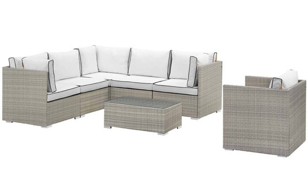 Modway Furniture Repose Light Gray White 7pc Outdoor Patio Sectional Set EEI-3010-LGR-WHI-SET