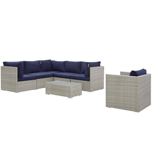 Modway Furniture Repose Light Gray Navy 7pc Outdoor Patio Sunbrella Sectional Set EEI-3011-LGR-NAV-SET