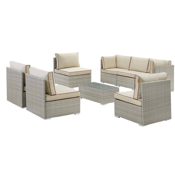 Modway Furniture Repose Light Gray Beige 8pc Outdoor Patio Sectional Set EEI-3012-LGR-BEI-SET