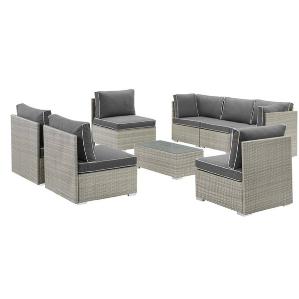 Modway Furniture Repose Light Gray Charcoal 8pc Outdoor Patio Sectional Set EEI-3012-LGR-CHA-SET