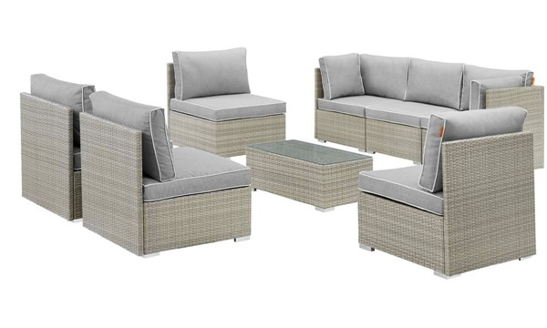 Modway Furniture Repose Light Gray 8pc Outdoor Patio Sectional Set EEI-3012-LGR-GRY-SET