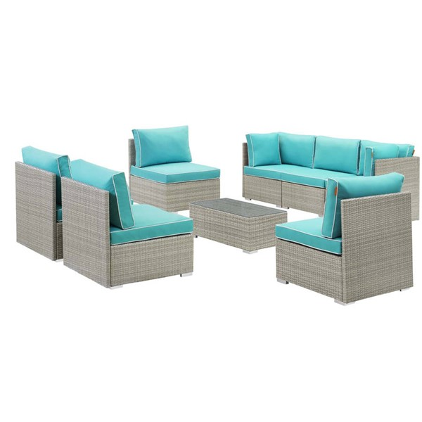 Modway Furniture Repose Light Gray Turquoise 8pc Outdoor Patio Sectional Set EEI-3012-LGR-TRQ-SET