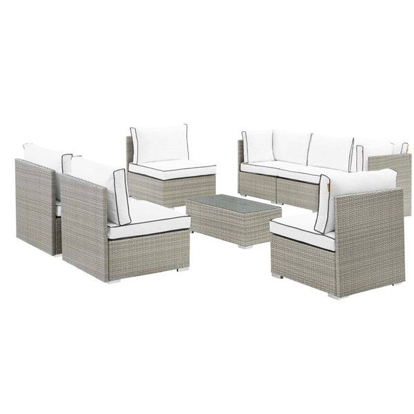Modway Furniture Repose Light Gray White 8pc Outdoor Patio Sectional Set EEI-3012-LGR-WHI-SET