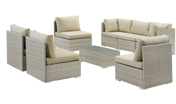 Modway Furniture Repose Light Gray Beige 8pc Outdoor Patio Sunbrella Sectional Set EEI-3013-LGR-BEI-SET