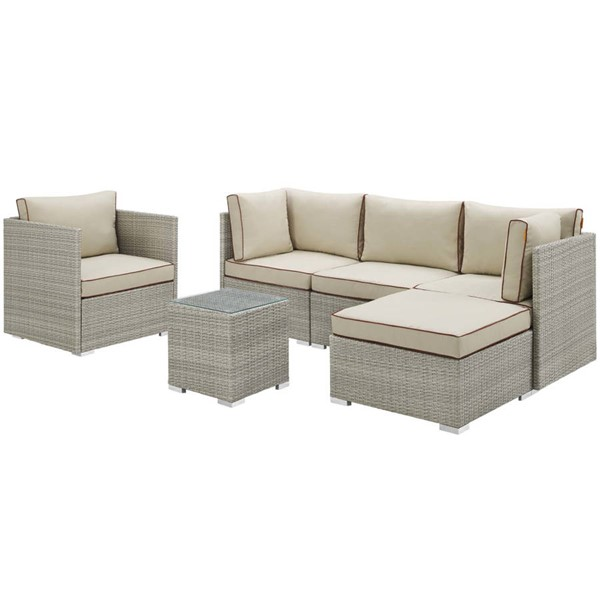Modway Furniture Repose Beige 6pc Outdoor Patio Sectional Sets EEI-3014-LGR-SEC-VAR