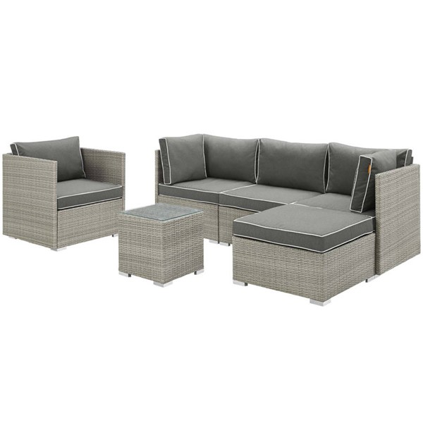 Modway Furniture Repose Charcoal 6pc Outdoor Patio Sectional Set EEI-3014-LGR-CHA-SET