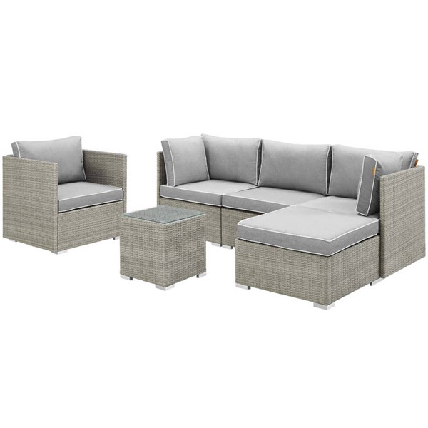 Modway Furniture Repose Gray 6pc Outdoor Patio Sectional Set EEI-3014-LGR-GRY-SET