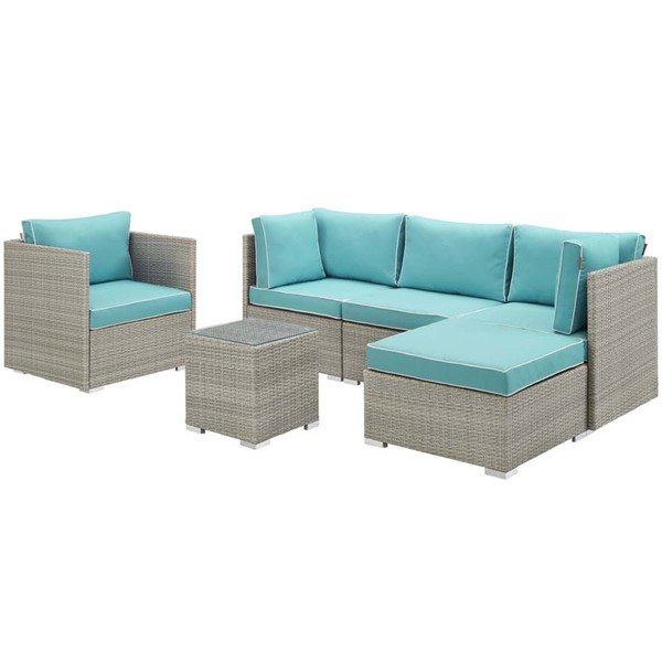 Modway Furniture Repose Turquoise 6pc Outdoor Patio Sectional Set EEI-3014-LGR-TRQ-SET