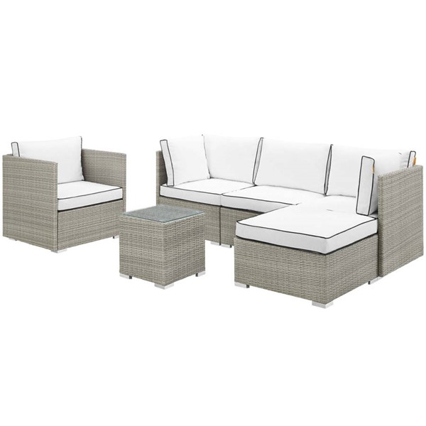 Modway Furniture Repose White 6pc Outdoor Patio Sectional Set EEI-3014-LGR-WHI-SET