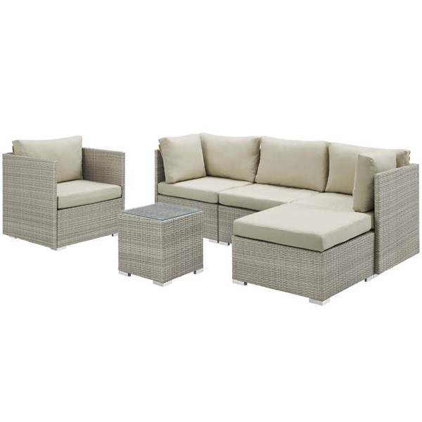 Modway Furniture Repose Beige 6pc Outdoor Patio Sunbrella Sectional Sets EEI-3015-LGR-SEC-VAR