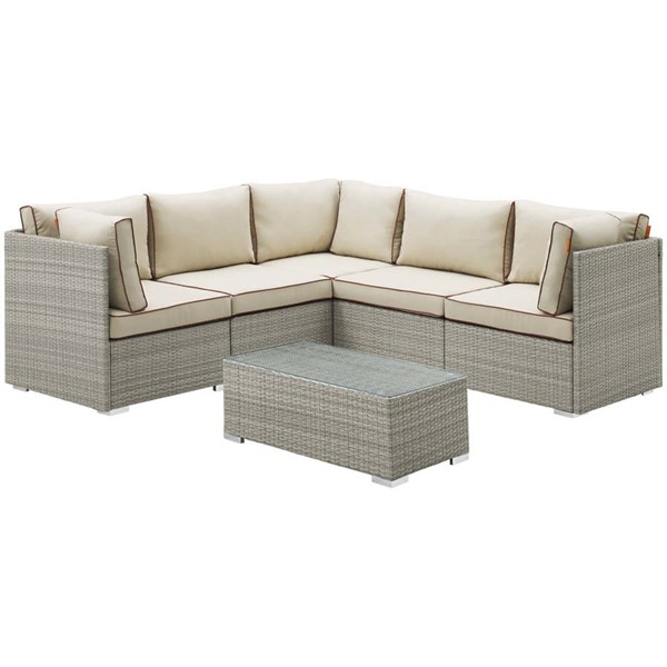 Modway Furniture Repose Light Gray Beige 6pc Outdoor Patio Sectional Sets EEI-3016-LGR-SEC-VAR