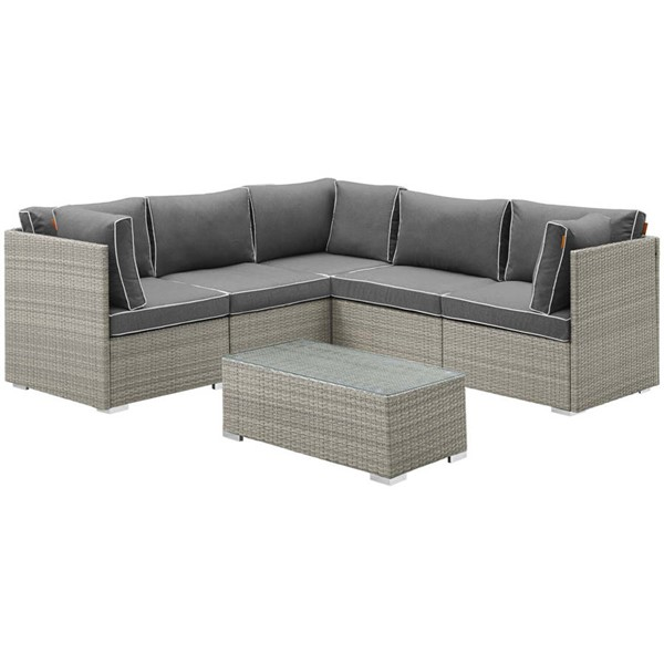 Modway Furniture Repose Light Gray Charcoal 6pc Outdoor Patio Sectional Set EEI-3016-LGR-CHA-SET