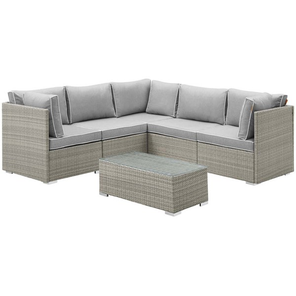 Modway Furniture Repose Light Gray 6pc Outdoor Patio Sectional Set EEI-3016-LGR-GRY-SET