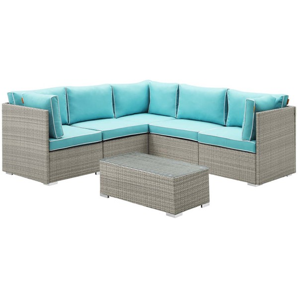 Modway Furniture Repose Light Gray Turquoise 6pc Outdoor Patio Sectional Set EEI-3016-LGR-TRQ-SET