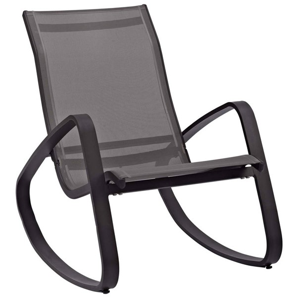 Modway Furniture Traveler Black Rocking Outdoor Mesh Sling Lounge Chair EEI-3027-BLK-BLK