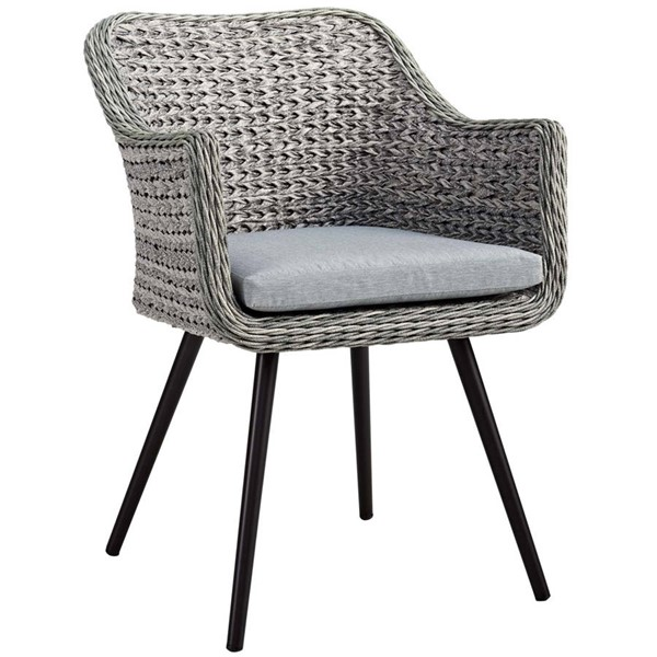 Modway Furniture Endeavor Gray Outdoor Patio Wicker Rattan Dining Armchair EEI-3028-GRY-GRY