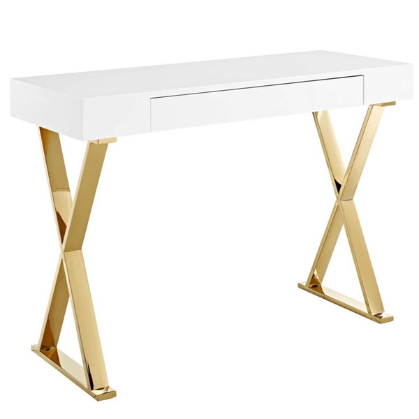 Modway Furniture Sector White Gold Console Table EEI-3032-WHI