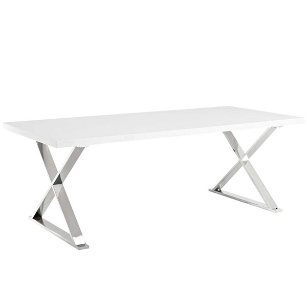 Modway Furniture Sector White Silver Dining Table EEI-3033-WHI
