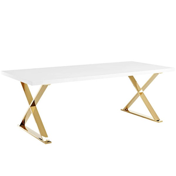 Modway Furniture Sector White Gold Dining Table EEI-3034-WHI
