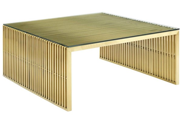 Modway Furniture Gridiron Gold Stainless Steel Coffee Table EEI-3037-GLD