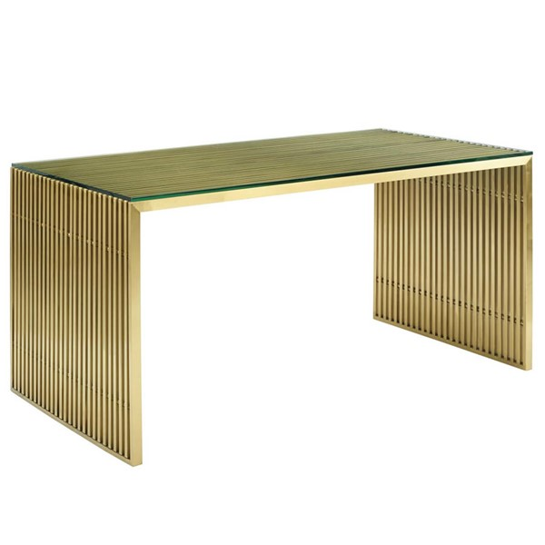 Modway Furniture Gridiron Gold Stainless Steel Dining Table EEI-3038-GLD