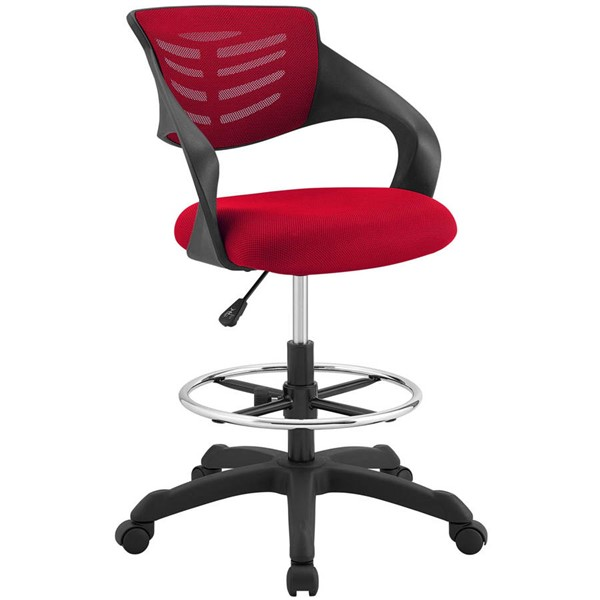 Modway Furniture Thrive Red Mesh Drafting Chair EEI-3040-RED
