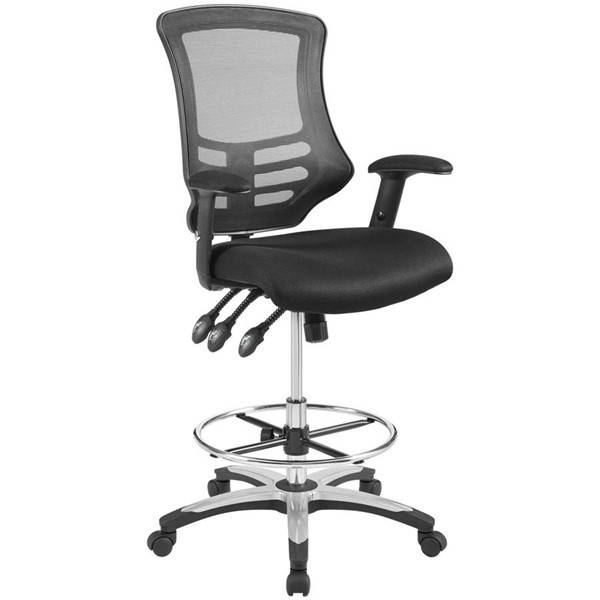 Modway Furniture Calibrate Black Mesh Drafting Chairs EEI-3043-OCH-VAR