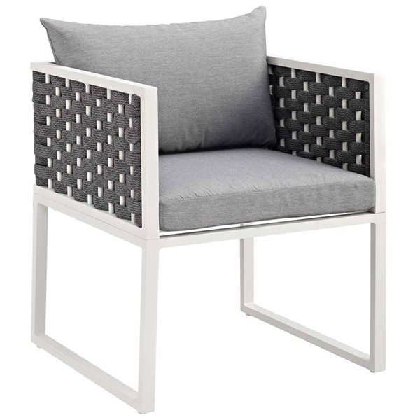 Modway Furniture Stance White Gray Outdoor Patio Dining Armchair EEI-3053-WHI-GRY