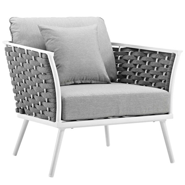 Modway Furniture Stance White Gray Outdoor Patio Armchair EEI-3054-WHI-GRY