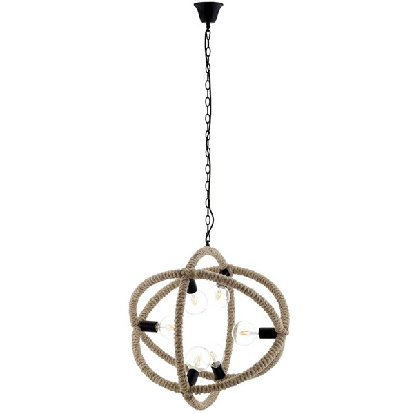 Modway Furniture Transpose Black Rope Pendant Chandelier EEI-3076
