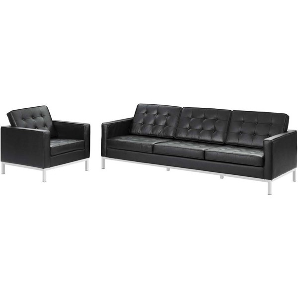 Modway Furniture Loft Black Leather Sofa and Armchair Sets EEI-3099-LR-SET-VAR