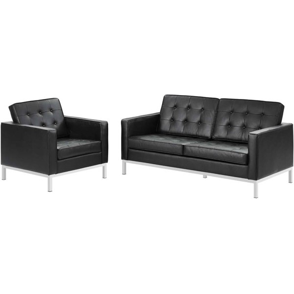 Modway Furniture Loft Black Leather Loveseat and Armchair Set EEI-3100-BLK-SET