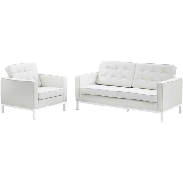 Modway Furniture Loft White Leather Loveseat and Armchair Set EEI-3100-WHI-SET