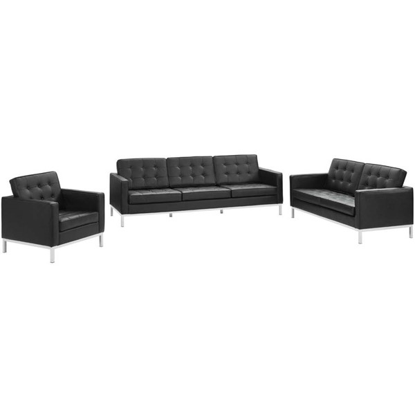 Modway Furniture Loft Black Leather 3pc Living Room Sets EEI-3101-LR-SET-VAR