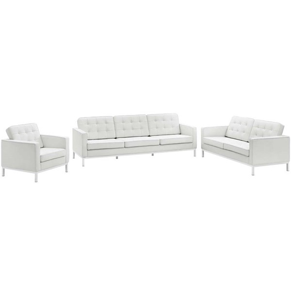 Modway Furniture Loft White Leather 3pc Living Room Set EEI-3101-WHI-SET