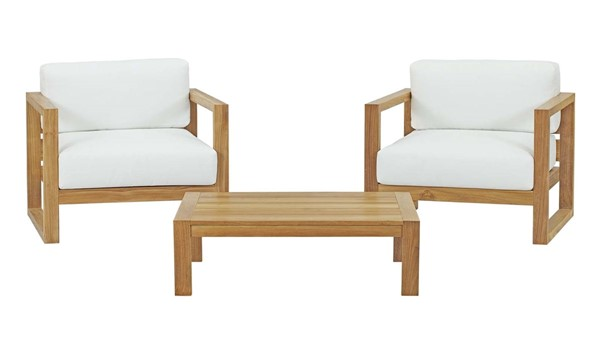Modway Furniture Upland White 3pc Outdoor Patio Teak Set EEI-3114-NAT-WHI-SET