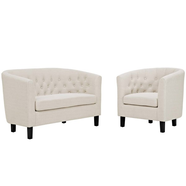 Modway Furniture Prospect Beige Fabric Loveseat and Armchair Set EEI-3148-BEI-SET