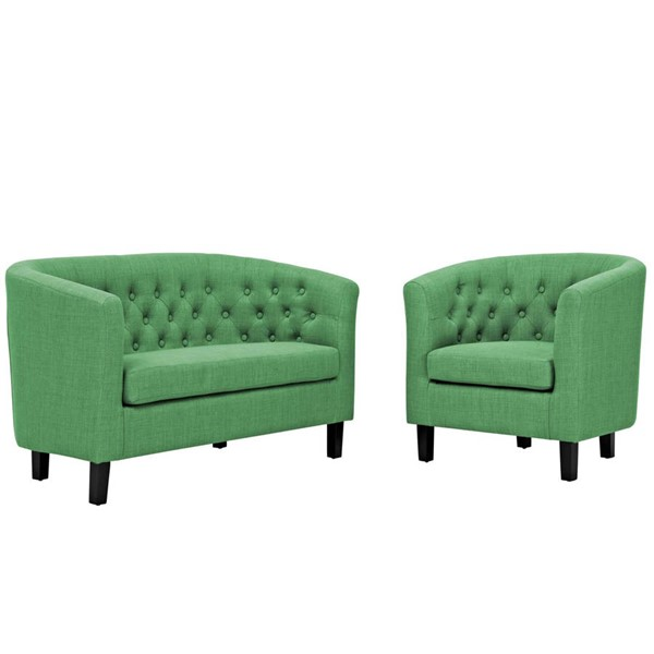 Modway Furniture Prospect Green Fabric Loveseat and Armchair Set EEI-3148-GRN-SET