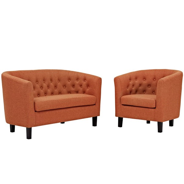Modway Furniture Prospect Orange Fabric Loveseat and Armchair Set EEI-3148-ORA-SET