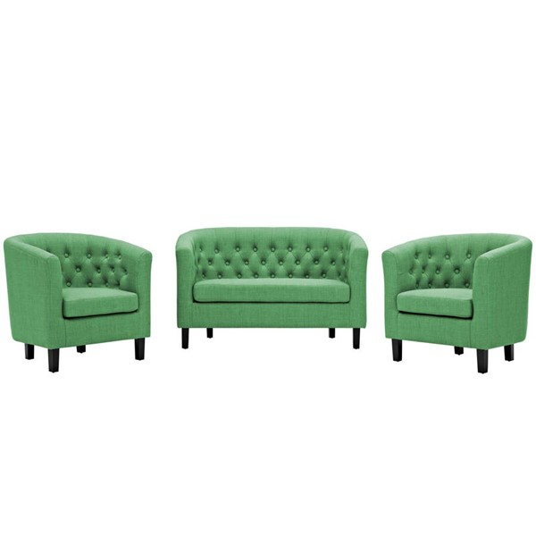 Modway Furniture Prospect Green Fabric 3pc Loveseat and Armchair Set EEI-3149-GRN-SET