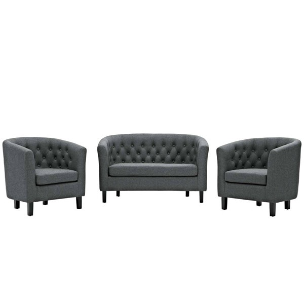 Modway Furniture Prospect Gray Fabric 3pc Loveseat and Armchair Set EEI-3149-GRY-SET