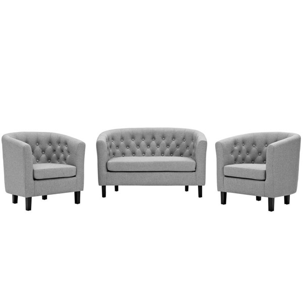 Modway Furniture Prospect Light Gray Fabric 3pc Loveseat and Armchair Set EEI-3149-LGR-SET
