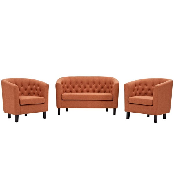 Modway Furniture Prospect Orange Fabric 3pc Loveseat and Armchair Set EEI-3149-ORA-SET