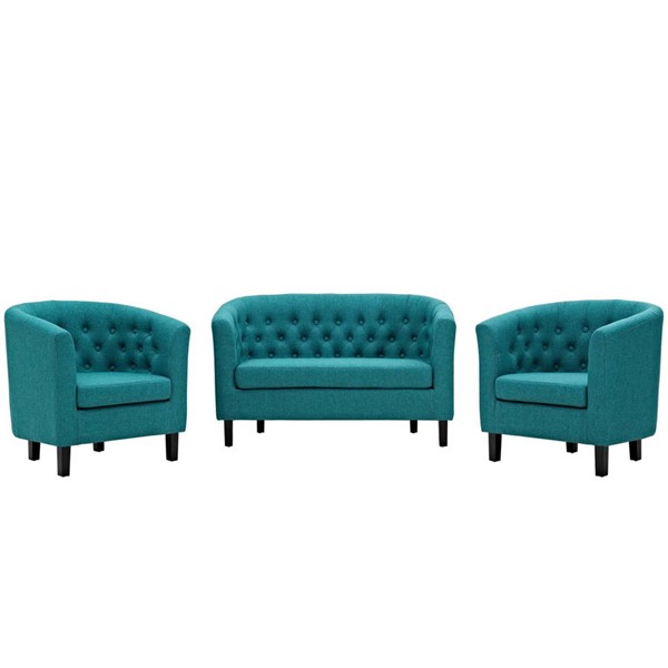 Modway Furniture Prospect Teal Fabric 3pc Loveseat and Armchair Set EEI-3149-TEA-SET