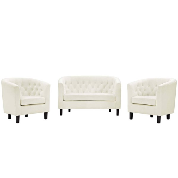 Modway Furniture Prospect Ivory Velvet 3pc Loveseat and Armchair Set EEI-3152-IVO-SET