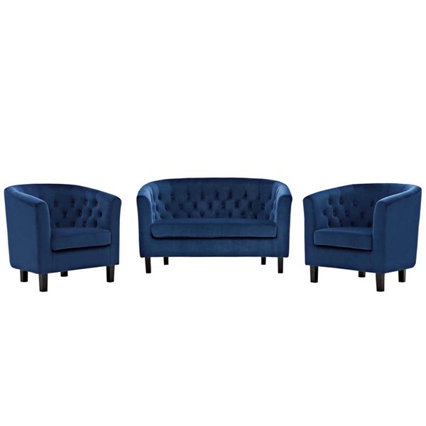 Modway Furniture Prospect Navy Velvet 3pc Loveseat and Armchair Set EEI-3152-NAV-SET