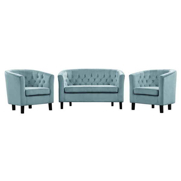 Modway Furniture Prospect Sea Blue Velvet 3pc Loveseat and Armchair Set EEI-3152-SEA-SET