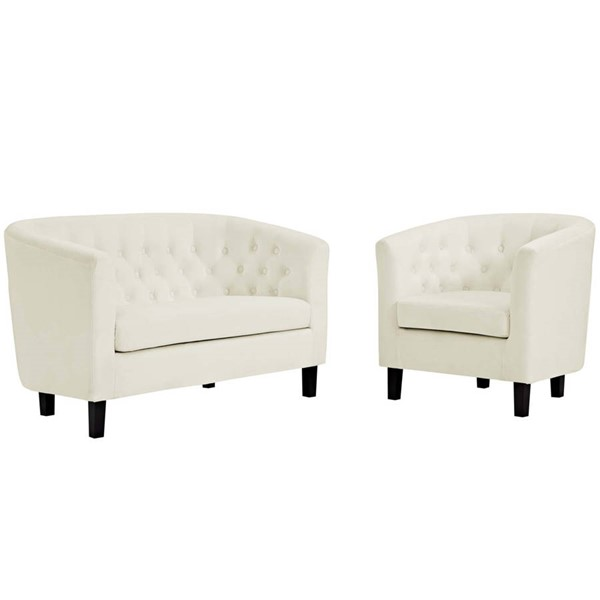Modway Furniture Prospect Ivory Velvet Loveseat and Armchair Set EEI-3154-IVO-SET